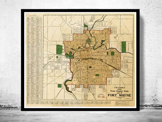 Old Map Fort Wayne Indiana 1919 Etsy