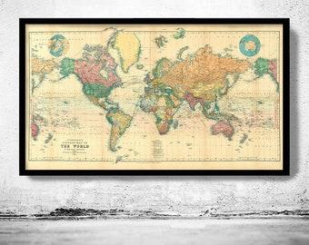 Beautiful World Map Vintage Atlas 1898 Mercator projection  | Vintage Poster Wall Art Print | Vintage World Map