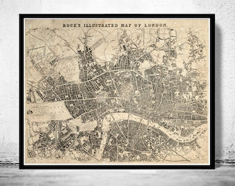 Old Map of London , England United Kingdom 1845