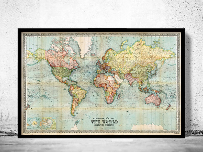 Beautiful Map Of The World.Beautiful World Map Vintage Atlas 1914 Mercator Projection Etsy