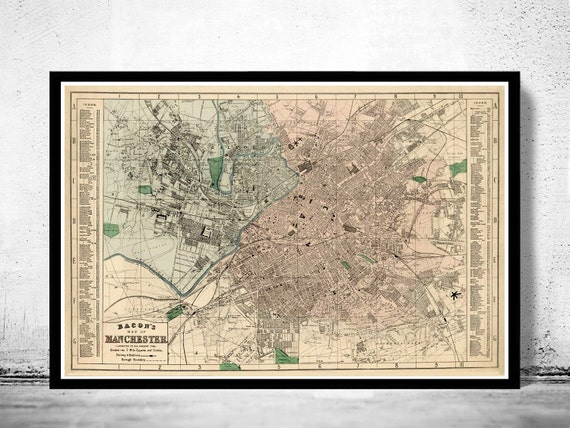 MAP OF MANCHESTER FROM 1890 HISTORIC VINTAGE PHOTO PRINT POSTER GIFT