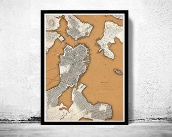 Vintage  Map of Boston 1842 Charlestown, Roxbury  Massachusetts