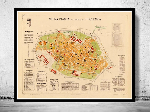 Old Map Of Piacenza 1882 Antique Vintage Italy Etsy