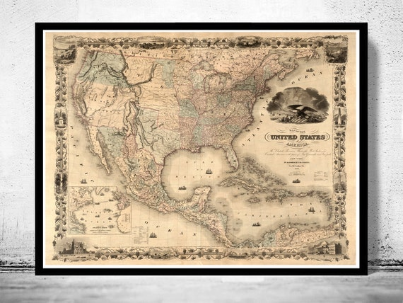 Map Of The United States 1850.Old Map Of United States 1850 Etsy