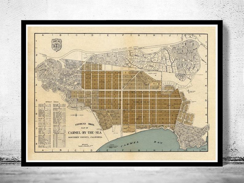 Old Map of Carmel By The Sea California 1920 | Etsy Carmel California Map on