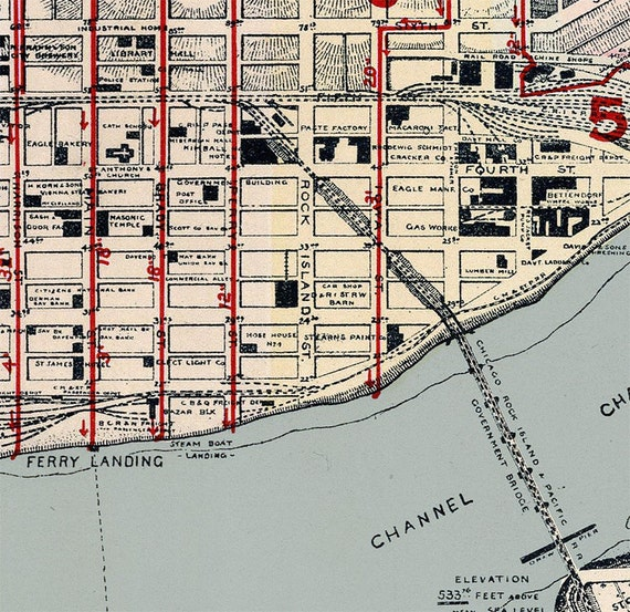 Old Map Of Davenport Iowa 1894 Etsy