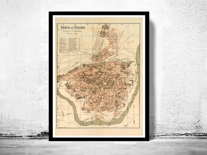 Map 24 Spain.Old Map Of Toledo Spain 1904 Vintage Map