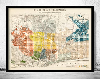 Old Map of Barcelona, Spain Cataluña 1910 Vintage map Barcelona    Vintage Poster Wall Art Print  