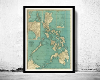 Old Map of Philippine Islands Philippines 1924