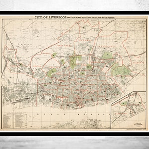 Old Map of Liverpool with gravures england 1900 Vintage   Etsy