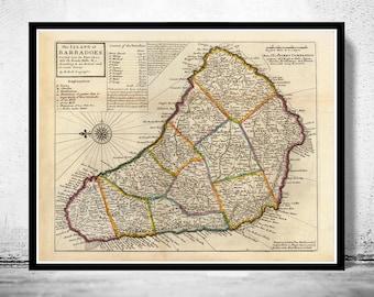 Old Map of  Barbados Antilles 1736