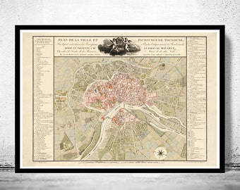 Old Map of Toulouse  France 1850