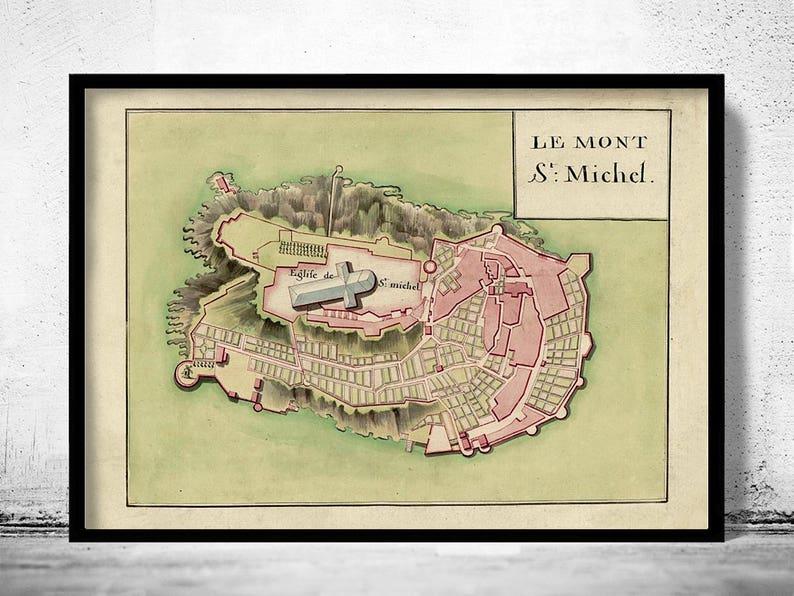 Vintage Map Of Mont St Michel France 1700 Etsy