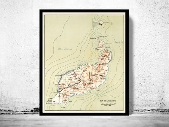 Alte Karte Von Lanzarote Insel Feine Reproduktion Vintage Etsy