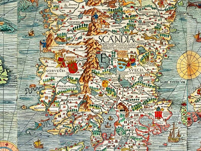 Karte Norwegen Schweden.Alte Vintage Karte Von Norwegen Schweden Skandinavien Antique Norwegen 1529 Olaus Magnus Detailkarte Skandinaviens