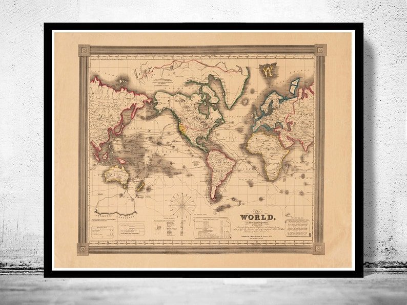 Old World Map Atlas Vintage World Map 1850 Mercator Projection Etsy