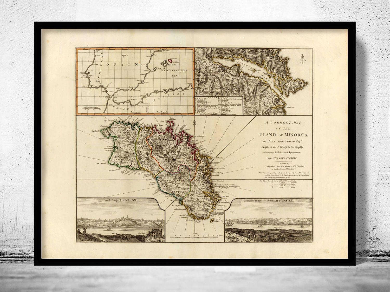 Insel Menorca Karte.Alte Karte Der Insel Menorca Spanien 1794
