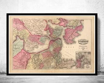 Old Map of Boston 1871 Massachusetts