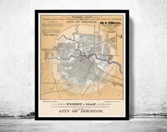 Old map of Houston Texas 1890