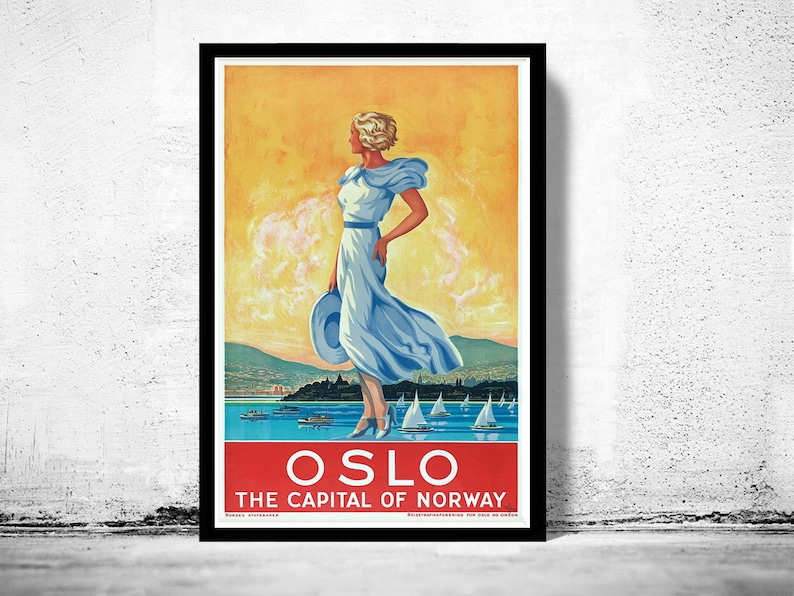 Vintage Oslo Norway Tourism Poster Print A3//A4