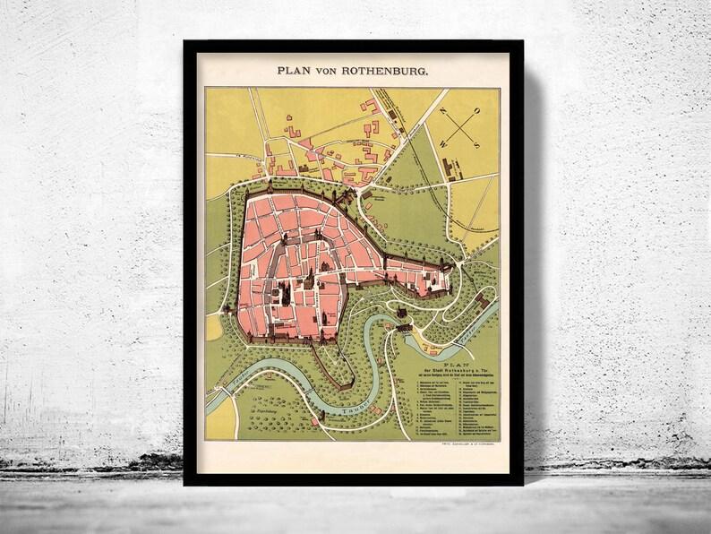 Old Map Of Rothenburg Germany 1903 Etsy