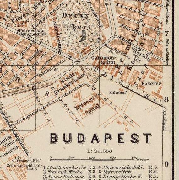 Old Map of Budapest Hungary 1913 | Etsy