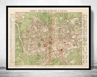 Old Map of Bristol UK 1890