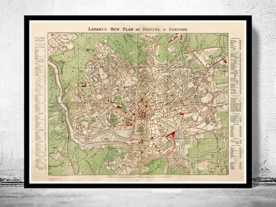 Map Of Bristol Uk.Old Map Of Bristol Uk 1890 Etsy