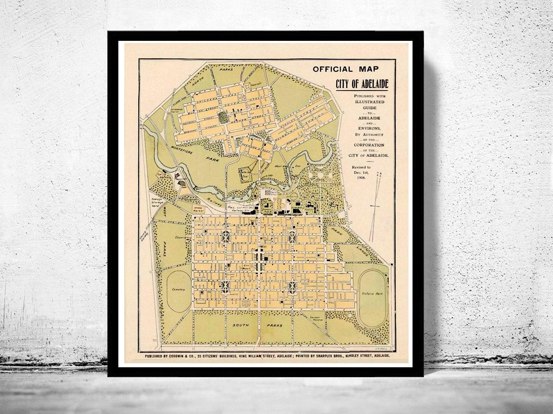 Vintage Map of Adelaide City Australia Oceania 1906   Etsy