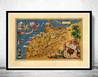 Old Map of  Morocco Le Maroc  Vintage Map  | Vintage Poster Wall Art Print |