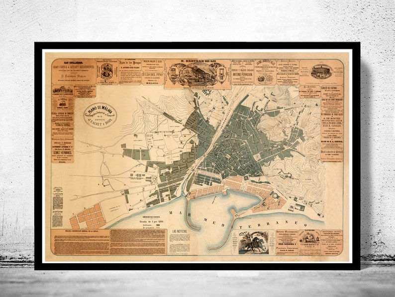 Map 24 Spain.Old Map Of Malaga Spain 1883 Vintage Map