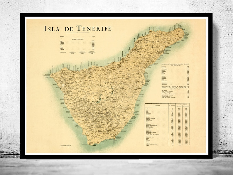 Map Of Spain Tenerife.Old Map Of Tenerife Canary Islands 1910 Spanish Map