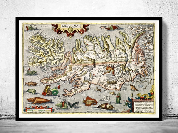 Old map of iceland islandia 1542 island sea monsters publicscrutiny Gallery