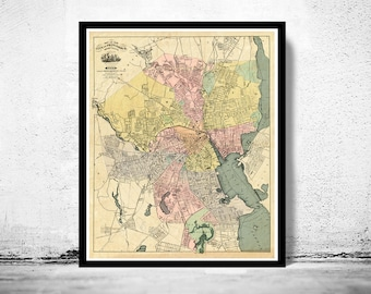 Old Map of Providence 1899 Rhode Island Vintage Map  | Vintage Poster Wall Art Print |