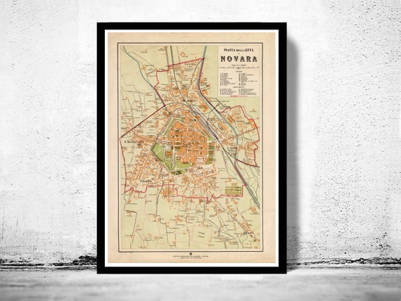 Novara Italy Map.Old Map Of Novara 1930 Antique Vintage Italy Etsy