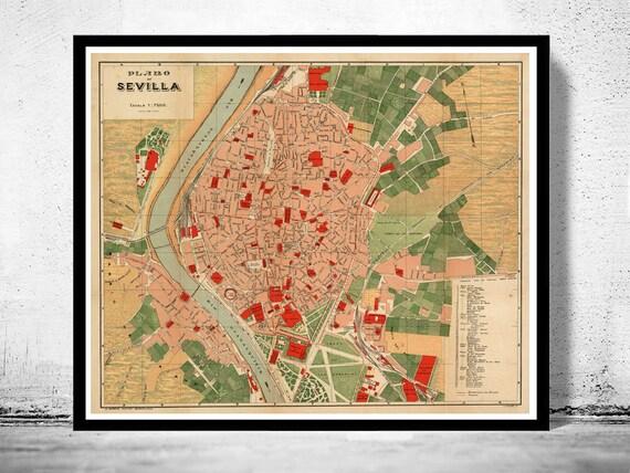 Cartina Siviglia Spagna.Vecchia Mappa Di Siviglia Spagna 1904 Mappa D Epoca Etsy