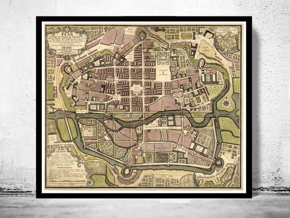 Old Map Of Rennes France 1726 Etsy