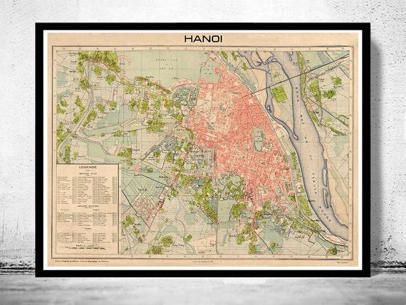 Old Map of Hanoi Vietnam 1929 | Etsy