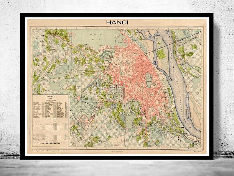 Ha Noi Vietnam Map.Old Map Of Hanoi Vietnam 1929 Etsy