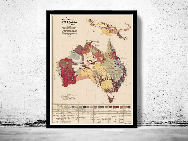 Carte Geologique Australie.Carte Vintage Geologique Ancienne Carte Australie Etsy