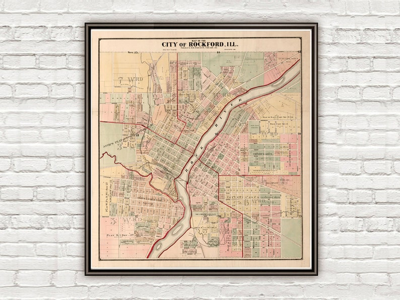 Map Of America Rockford.Old Map Of Rockford Illinois 1886