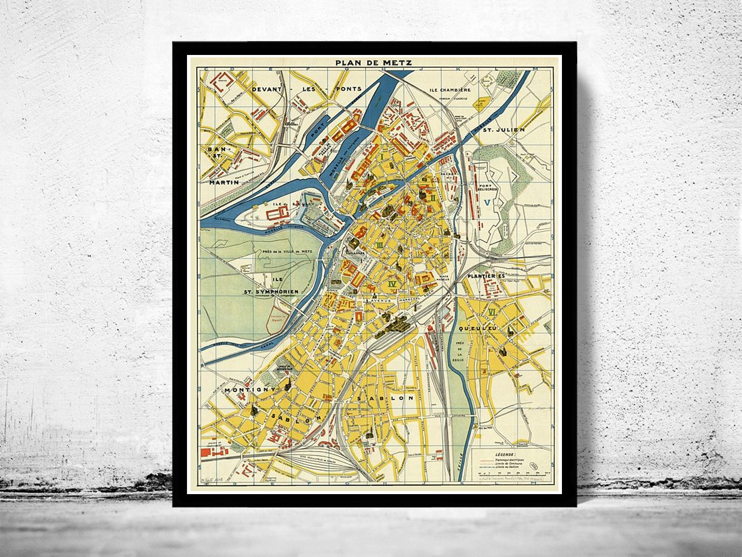 Old Map Of Metz France 1936 Etsy