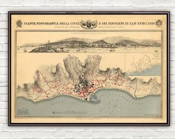Old Map of San Remo 1882 SanRemo Italy Italia