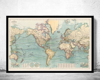 Great Vintage World Map in 1897