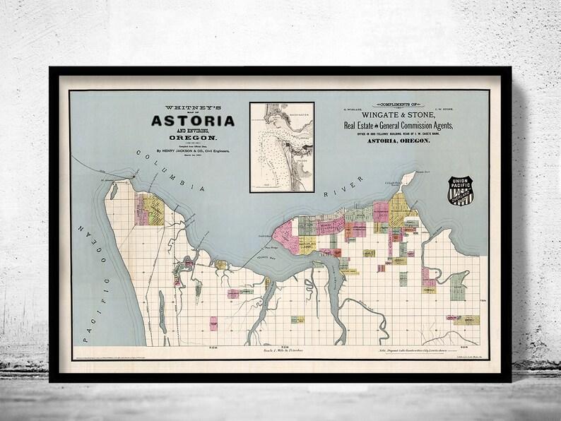 Astoria Oregon Old Map 1890 Vintage Map Etsy