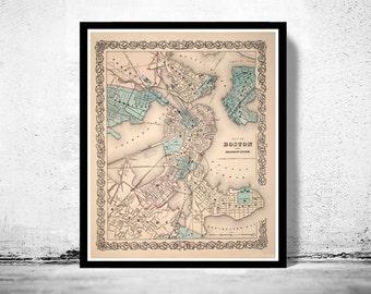 Old Map of Boston,  Massachusetts Vintage 1855