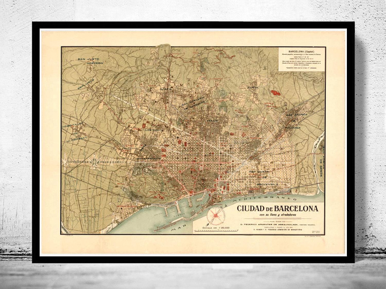 Cartina Barcellona Dettagliata.Vecchia Mappa Di Barcellona Spagna Cataluna 1900 Mappa Etsy