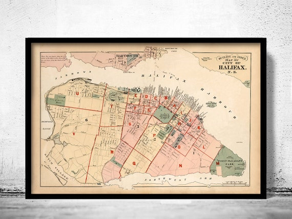 Vintage Map of Halifax Nova Scotia Canada 1878 on st. lawrence river map, dartmouth map, fredericton map, canada map, nova scotia map, derry map, rugby map, quebec map, bedford map, northern lebanon map, port hood map, north middleton township map, north american rivers map, ottawa map, fort cumberland map, new brunswick map, otis map, nottoway map, lanesboro map, grande anse map,