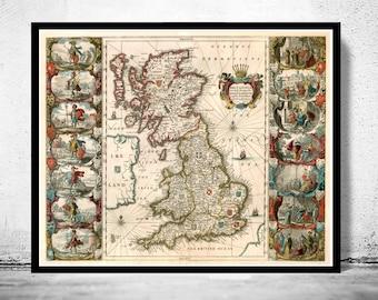 old map of united kingdom ireland scotland england 1642 uk britannia