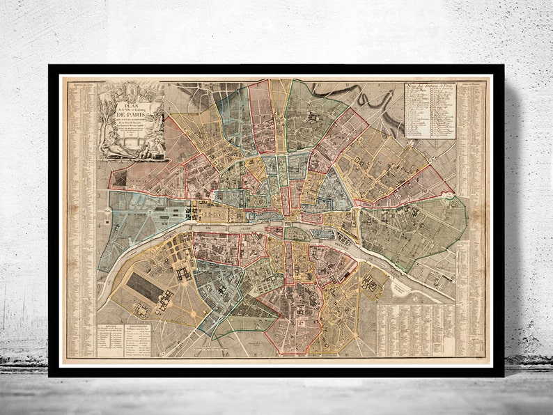Old Map of Paris 1790 France Vintage Paris Plan Blank Map Of America on north america 1790, map europe 1790, map united states 1790,